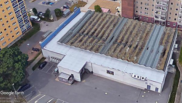 EDEKA-Markt (Goldbeck Bielefeld), Chemnitz - Machbarkeitsstudie der neu geplanten Dachkonstruktion von ROOF CONSULTING - Google Earth ©2018 Google, ©2009 GeoBasis-DE/BKG