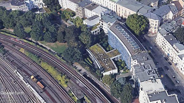 Pacific Haus, Hamburg (Holzdamm) - Planung und Baubegleitung der Dachsanierung und neue Begrünung - Google Earth - ©2018 Google, ©2009 GeoBasis-DE/BKG