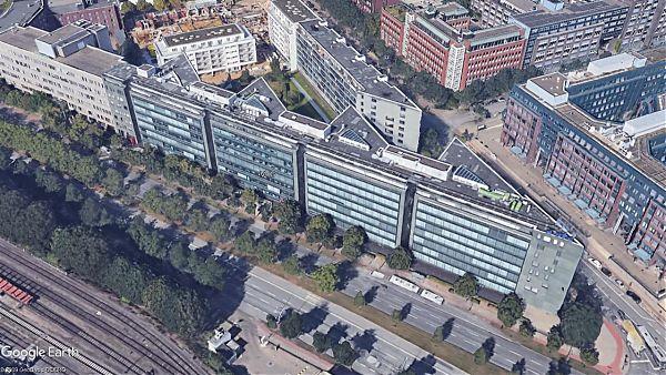 VTG-Gebäude, Hamburg (Amsinckstr.) - Planung der Dachsanierung und Geräteaufständerung - Google Earth ©2009 GeoBasis-DE/BKG